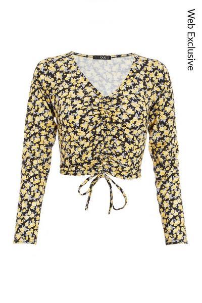 Petite Black & Yellow Floral Crop Top
